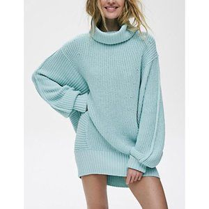Free People Turquoise Cocoa Oversized Sweater